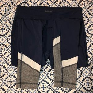 Blue Ankle Length Cold Weather Leggings